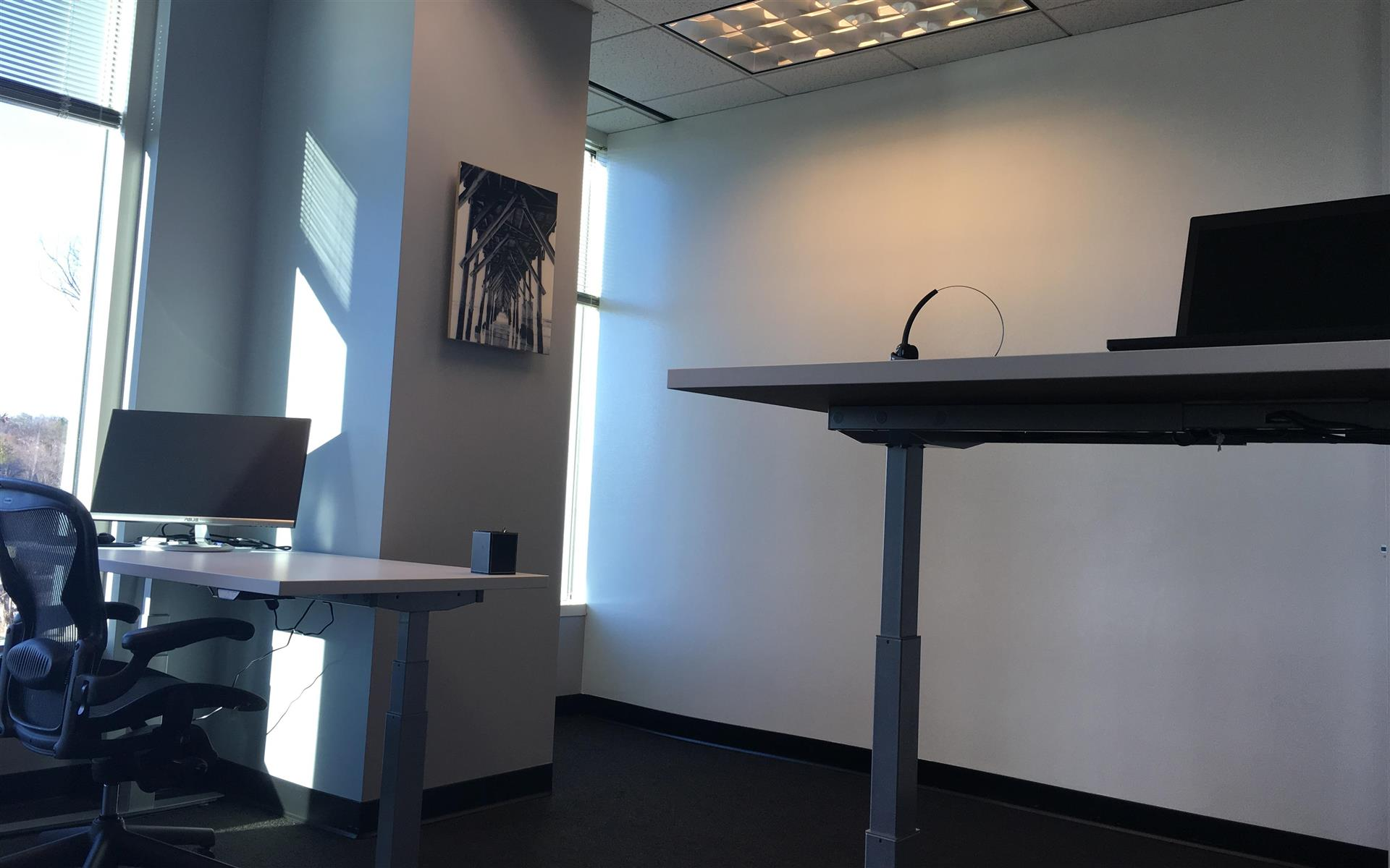 FinPro Solutions - Window Office with Sit/Stand Desks